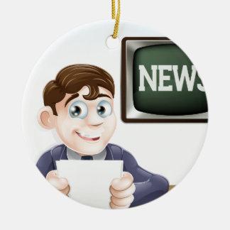News reporter ceramic ornament