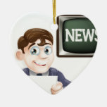 News reporter Double-Sided heart ceramic christmas ornament
