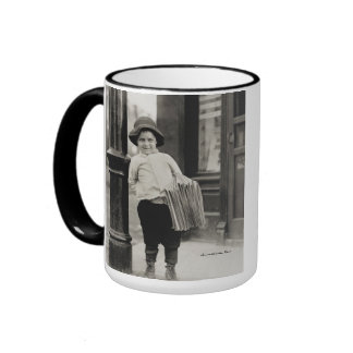 Newsboy in St. Louis by Lewis Wickes Hine - 1910 Ringer Mug
