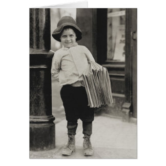 Newsboy in St. Louis by Lewis Wickes Hine Card