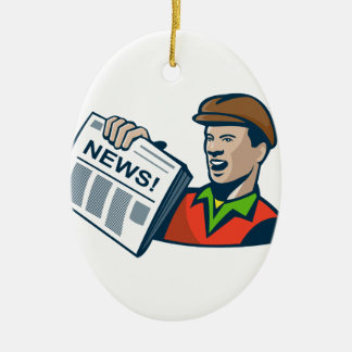 Newsboy Newspaper Delivery Retro Double-Sided Oval Ceramic Christmas Ornament