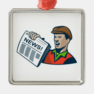 Newsboy Newspaper Delivery Retro Square Metal Christmas Ornament