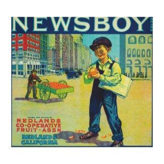 Newsboy Orange LabelRedlands, CA Canvas Print