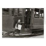 Newsboy Riding Trolley, 1910 Greeting Card