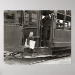 Newsboy Riding Trolley, 1910 Poster