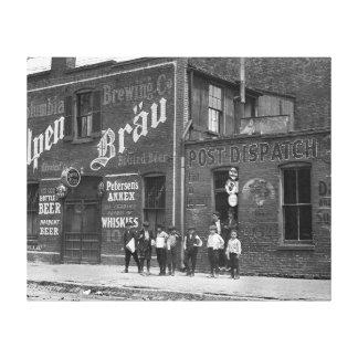 Newsboys Outside a Saloon, 1910 Canvas Print