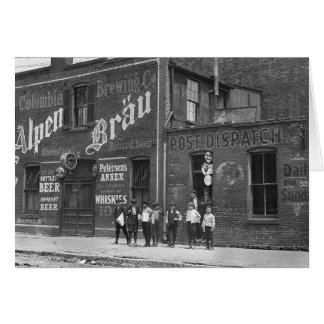 Newsboys Outside a Saloon, 1910 Cards