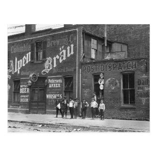 Newsboys Outside a Saloon, 1910 Postcard