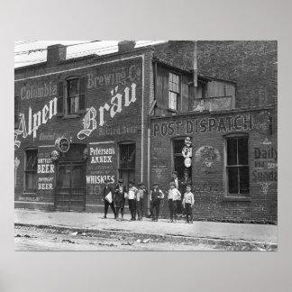 Newsboys Outside a Saloon, 1910. Vintage Photo Poster
