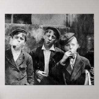Newsboys Smoking - Black and White Photo Poster