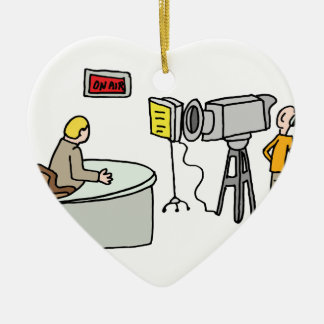 Newscaster reporting live in a studio ceramic ornament