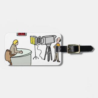 Newscaster reporting live in a studio luggage tag