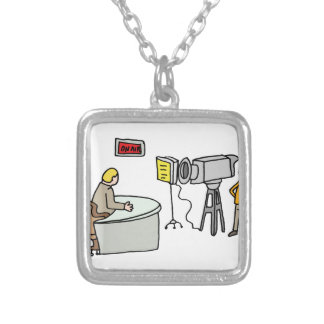 Newscaster reporting live in a studio silver plated necklace