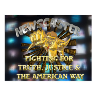 Newscaster Superhero Postcard
