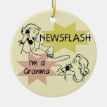 Newsflash I'm a Granma Tshirts and Gifts Christmas Tree Ornament