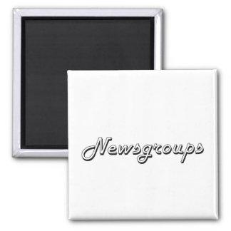 Newsgroups Classic Retro Design 2 Inch Square Magnet