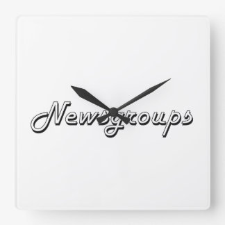 Newsgroups Classic Retro Design Square Wall Clock