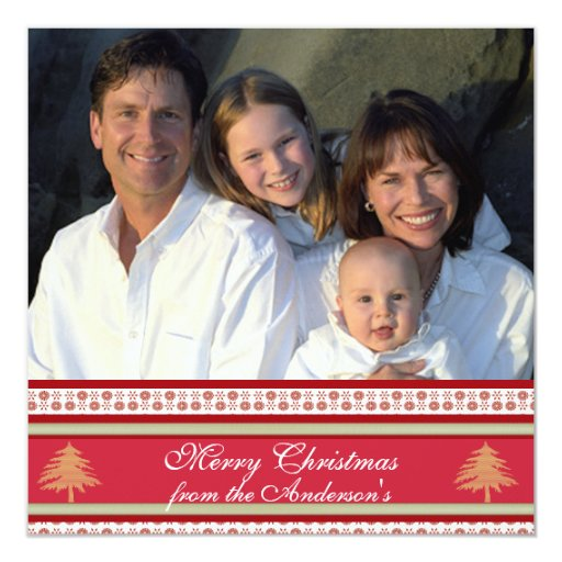 Newsletter on Back Red Damask Christmas Card