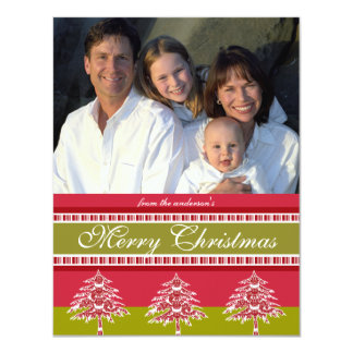 Newsletter on Back Red Damask Tree Christmas Card