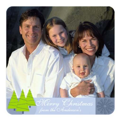 Newsletter on Back Retro Blue Lime Christmas Card