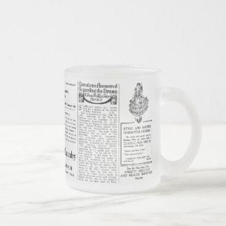 Newspaper #4 frosted glass coffee mug
