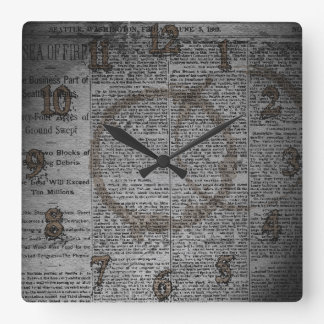 Newspaper and Coffee Stains Wall Clock