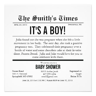 Newspaper Boy/Girl/Unisex Baby Shower Personalized Invitation