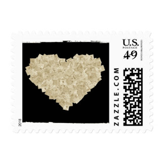Newspaper Clippings Heart Postage Stamp (S)