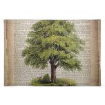 newspaper french botanical art vintage oak tree place mat