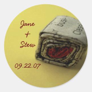 Newspaper Love Save the Date Sticker