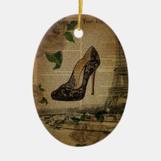 newspaper Paris eiffel tower black lace shoes Ceramic Ornament