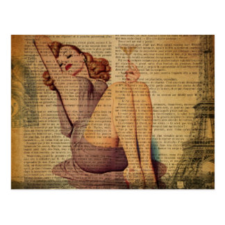newspaper paris eiffel tower girls night out postcard