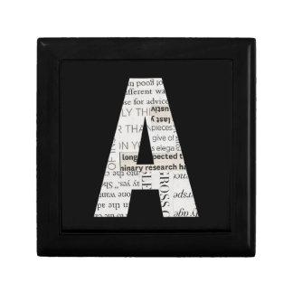 Newspaper Print Letter A Ceramic Tile Gift Box (S)