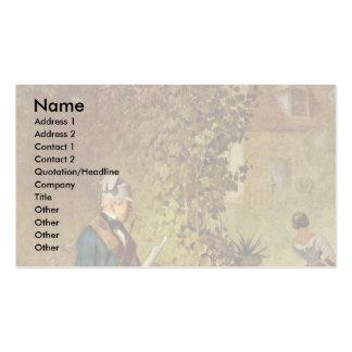 Newspaper Readers In The Garden By Spitzweg Carl Business Cards