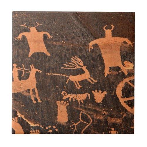 Newspaper Rock Petroglyph Panel _ Utah Tile