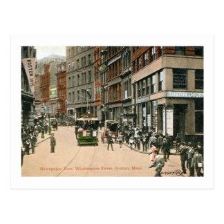 Newspaper Row, Washington St., Boston Vintage Postcard