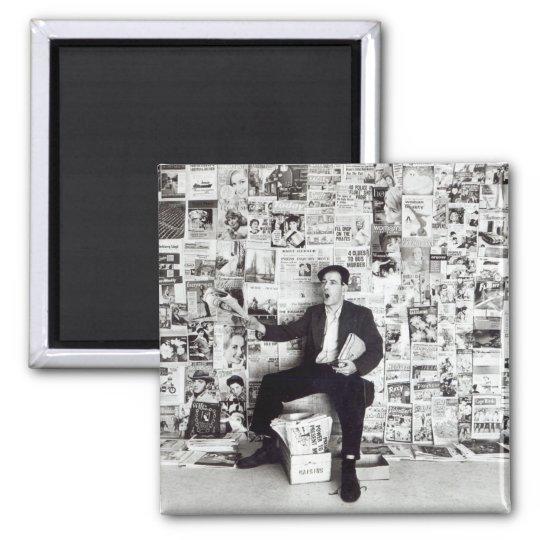 Newspaper salesman, c.1960 magnet