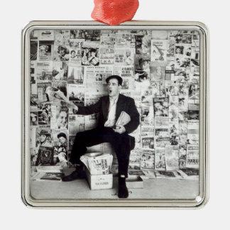 Newspaper salesman, c.1960 square metal christmas ornament