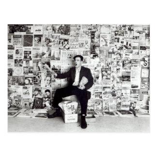 Newspaper salesman, c.1960 postcard