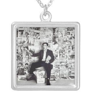 Newspaper salesman, c.1960 square pendant necklace