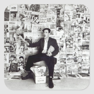 Newspaper salesman, c.1960 square sticker