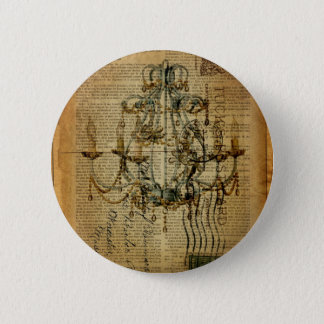 newspaper scripts french country chandelier pinback button