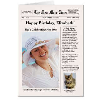 Newspaper Style with Cat Customizable Birthday Greeting Card
