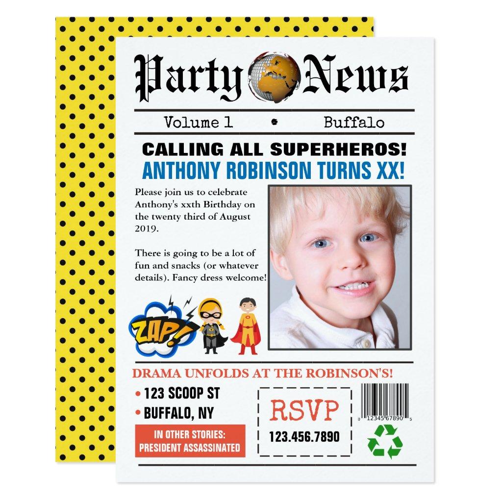 Newspaper Superhero Birthday Party photo Invite