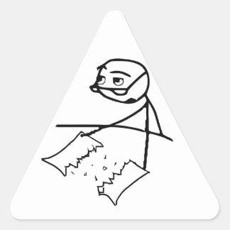 Newspaper Tear Guy Triangle Sticker