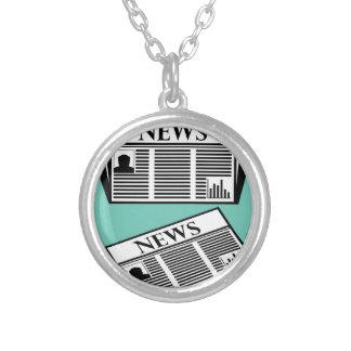 Newspaper Vector Round Pendant Necklace