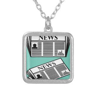 Newspaper Vector Square Pendant Necklace