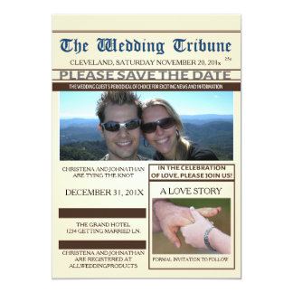 Newspaper Wedding Save The Date Announcement