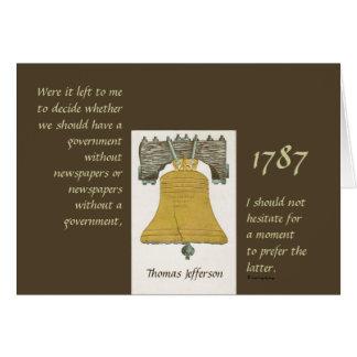 Newspapers & Government Thomas Jefferson Card