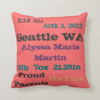 Newsprint Birth Announcement Throw Pillow